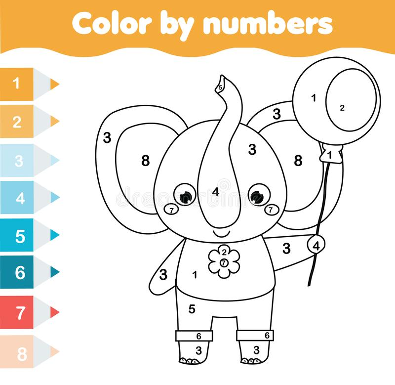 Kinderlernspiel Farbtonseite mit Elefanten Farbe durch Zahlen, bedruckbare Tätigkeit lizenzfreie abbildung