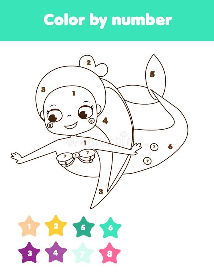 Kinderlernspiel Farbtonseite mit netter Meerjungfrau Farbe durch Zahlen, bedruckbare Tätigkeit vektor abbildung