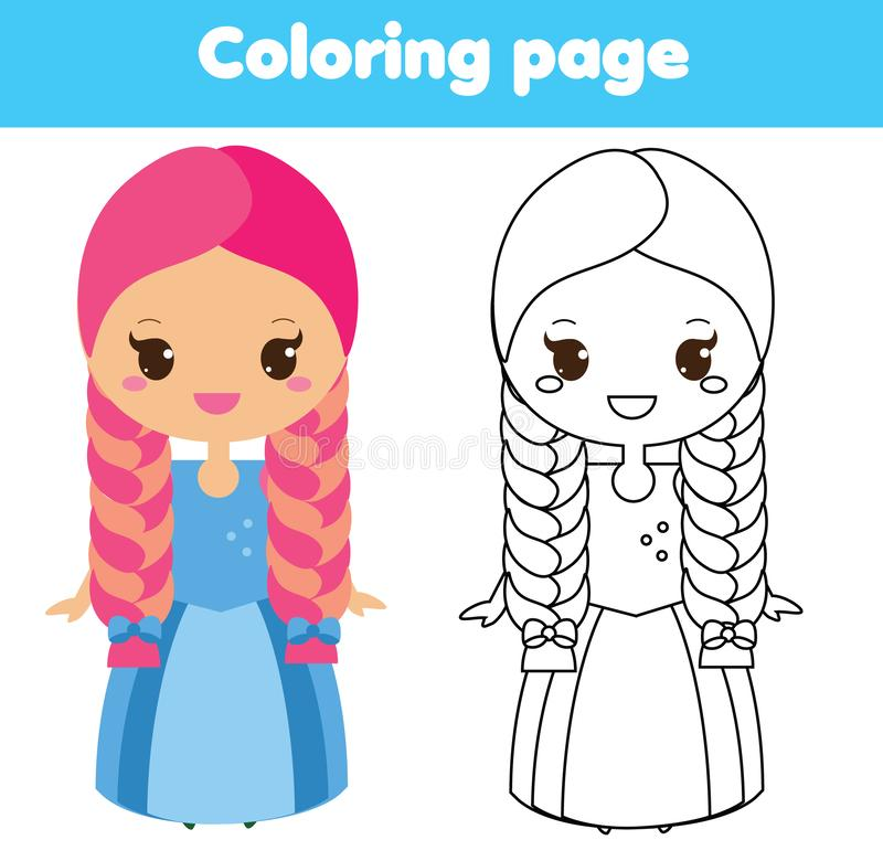 Kinderlernspiel Farbtonseite mit netter Prinzessin vektor abbildung