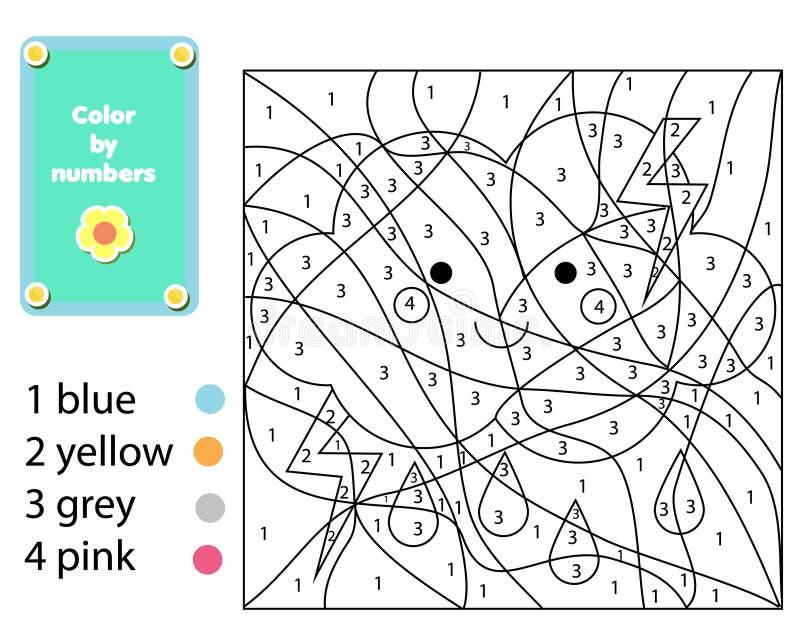 Kinderlernspiel Farbtonseite mit netter Wolke Farbe durch Zahlen, bedruckbare Tätigkeit lizenzfreie abbildung