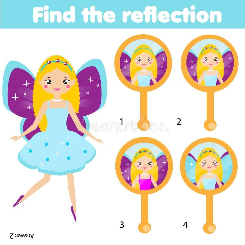 Kinderlernspiel Zusammenpassende Paare Finden Sie Reflexion im Spiegel Spaßseite für Vorschulekinder lizenzfreie abbildung