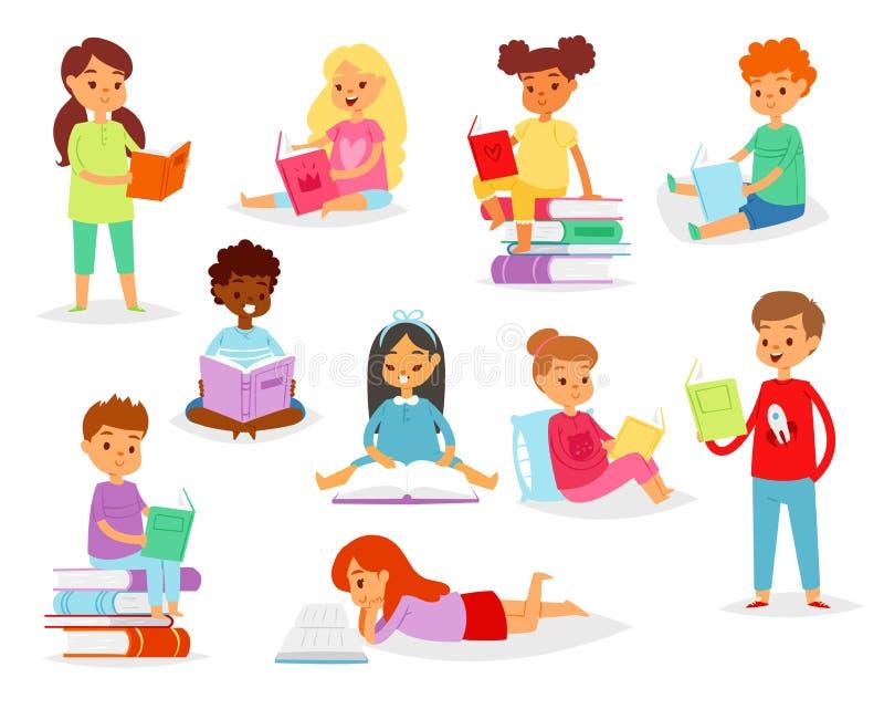 Kinderlesebücher vector Kindercharakterjungen, oder Mädchen las Lehrbuch mit Bookmarkillustrationssatz gebildeten Kindern lizenzfreie abbildung