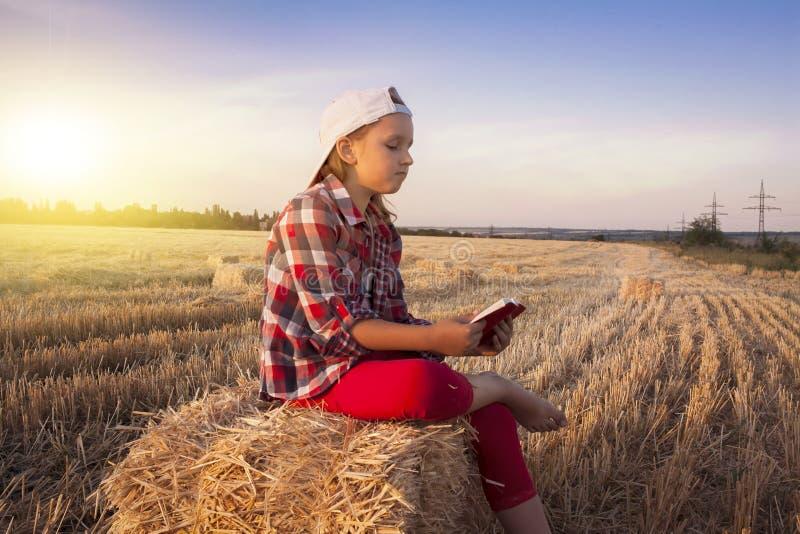 Kinderlesebuch oder -bibel draußen Nettes kleines Mädchen, welches die Bibel liest lizenzfreie stockfotos