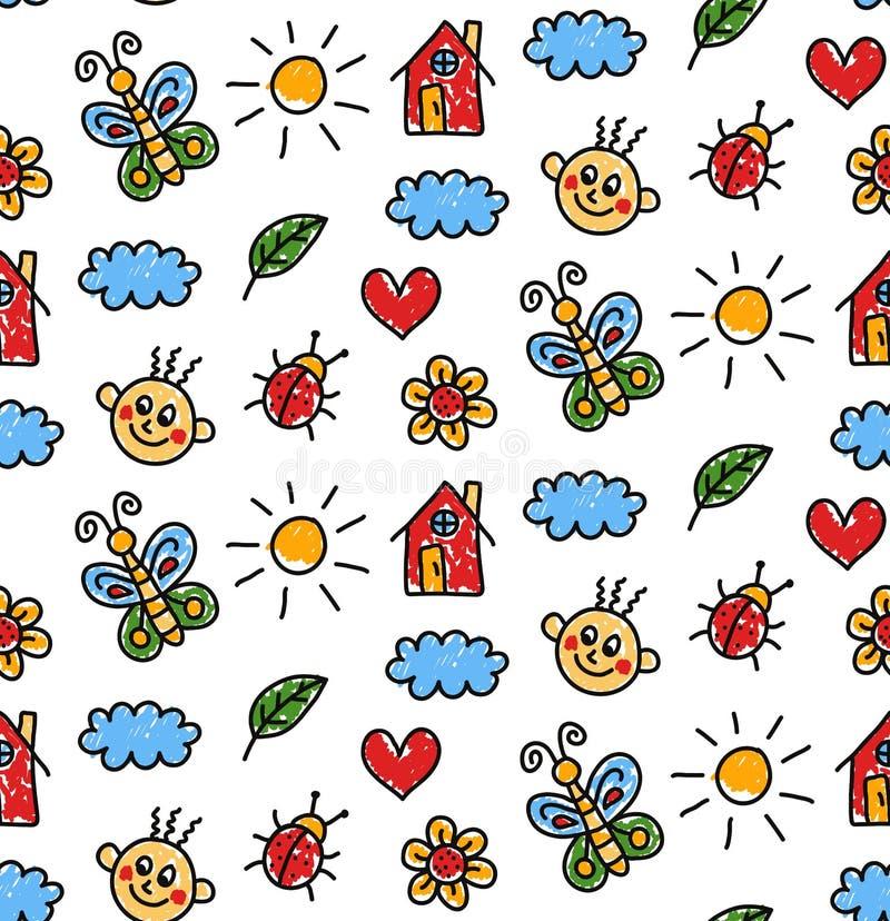 Kinderlijk drawigns naadloos vectorpatroon stock illustratie
