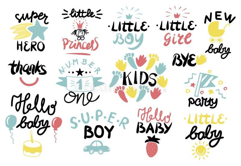14 Kinderlogo mit Handschrift vektor abbildung