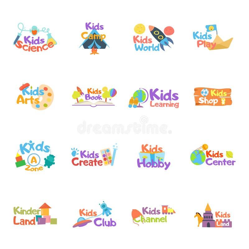 Kinderlogo-Vektorsatz Logosammlung Kinder schlagen mit einer Keule, landen, Spielplatz, Zone, Hobby, Künste Vektorikonen und Symb stock abbildung