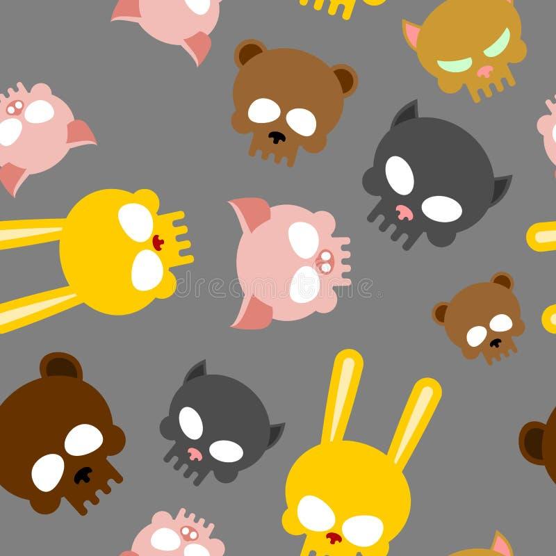 Kindernahtloses Muster für Halloween Schädel von Babytieren VE stock abbildung