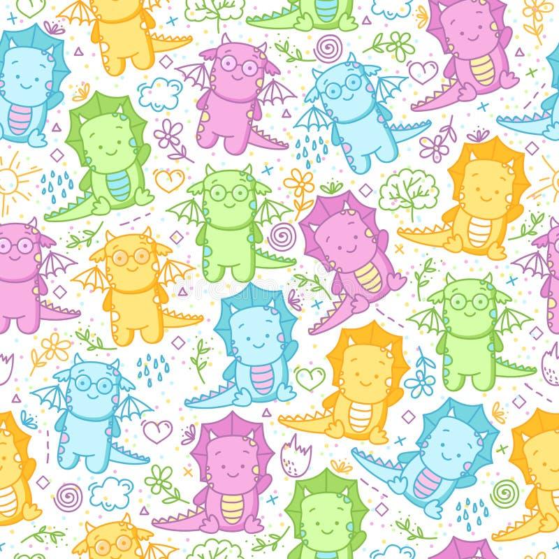 Kindernahtloses Muster mit Dinosauriern und lustigem Gekritzel lizenzfreie abbildung