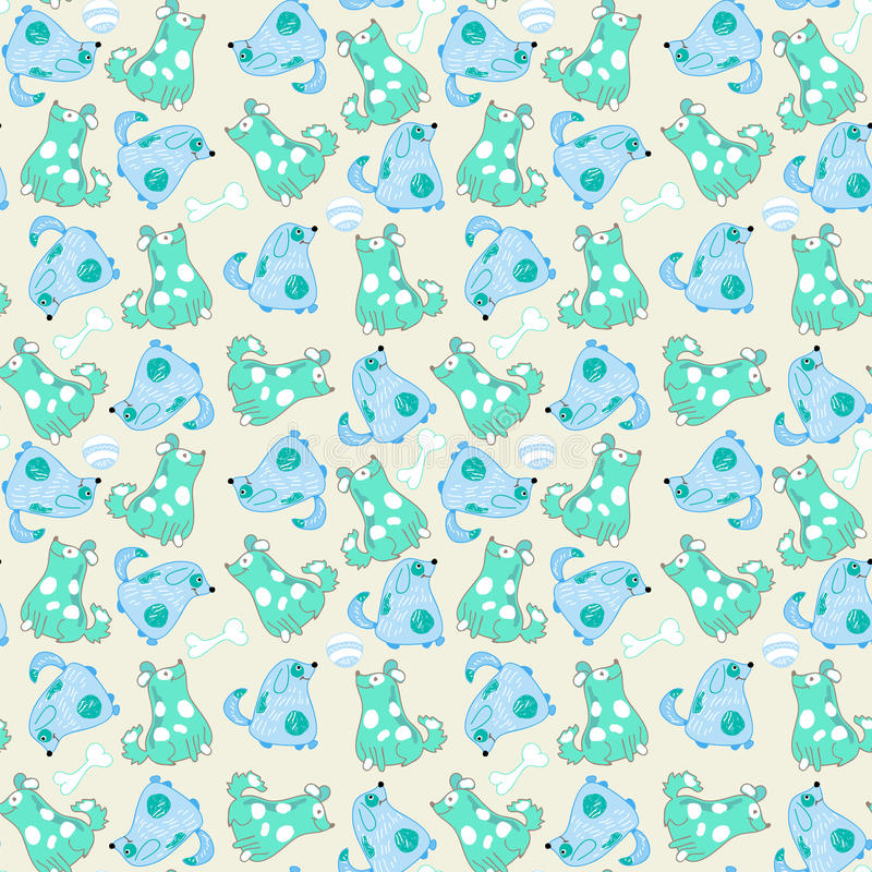 Kindernahtloses Muster mit Karikaturblauhunden vektor abbildung