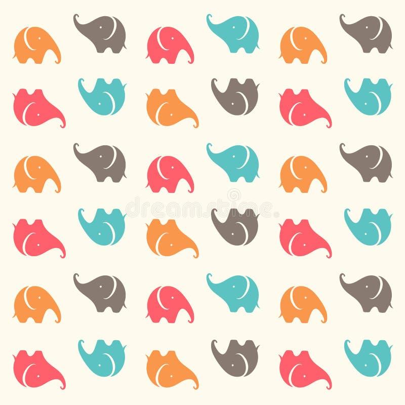 Kindernahtloses Muster mit netten Karikaturelefanten Tiere lustig Auch im corel abgehobenen Betrag lizenzfreie abbildung