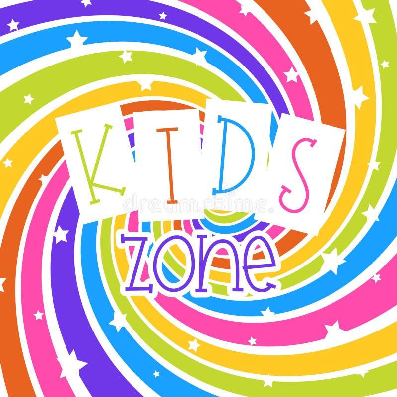 Kinderpartei-Einladung Entwerfen Sie Schablone mit Sternen auf buntem Regenbogenschneckenhintergrund stock abbildung