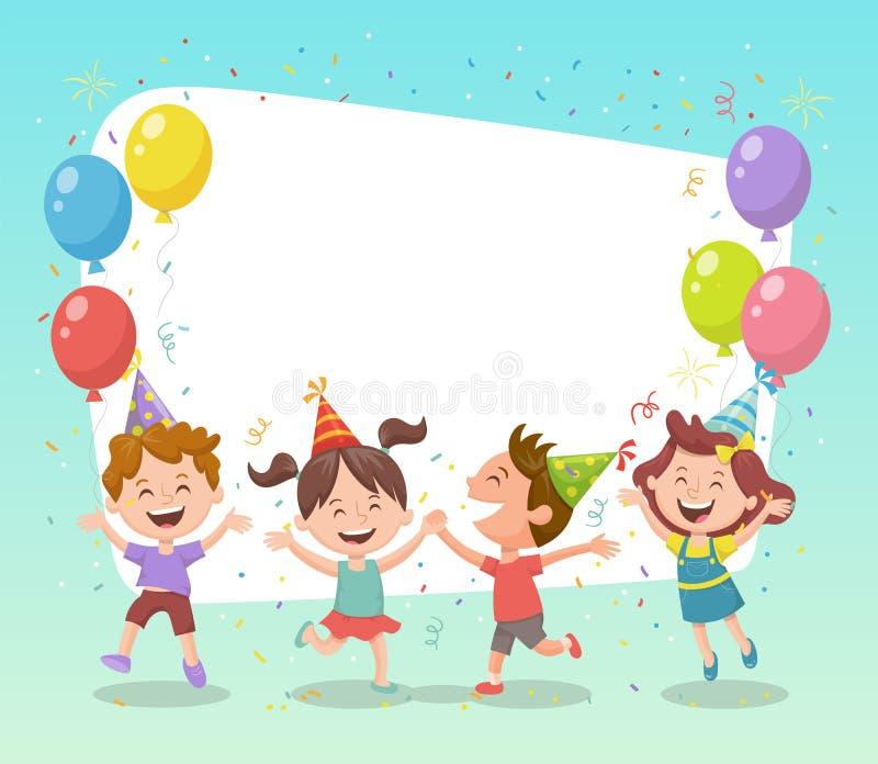 Kinderparteifeier-Kartenschablone lizenzfreie abbildung