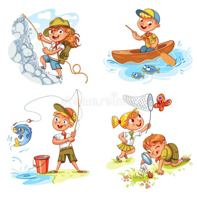 Kinderpfadfinderleute-Abenteuerkampieren lizenzfreie abbildung
