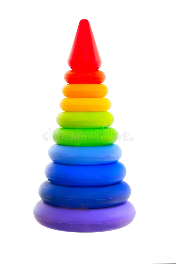 Kinderpyramidenregenbogen lokalisiert auf weißem Hintergrund stockbild