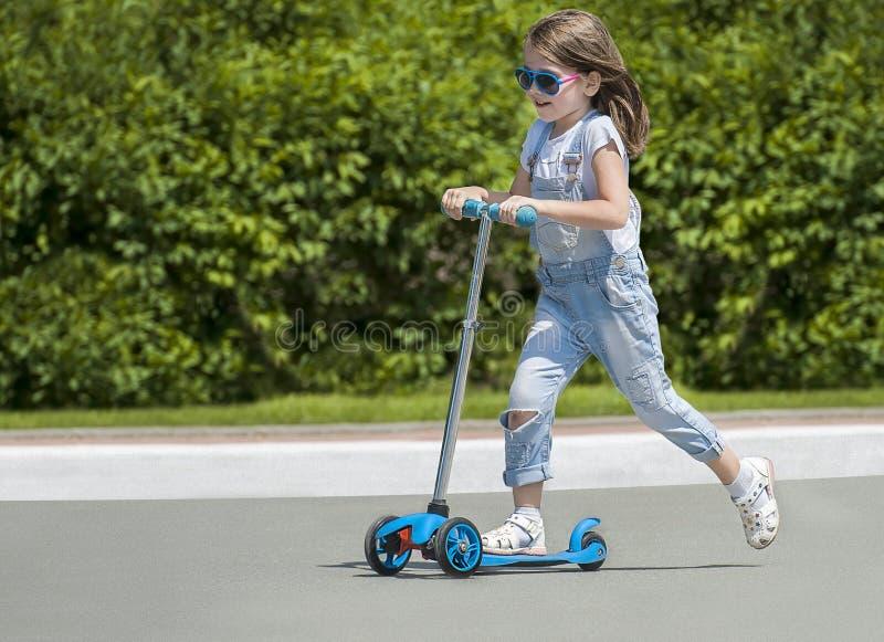 Kinderreitroller Kind auf buntem Trittbrett Aktiver Spaß im Freien für Kinder Sommersport für Vorschulkinder Wenig glücklich lizenzfreies stockfoto