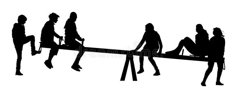 Kinderspiel auf einem ständigen Schwanken Mädchen und schwingender Jungenjugendlicher, Schattenbild vektor abbildung