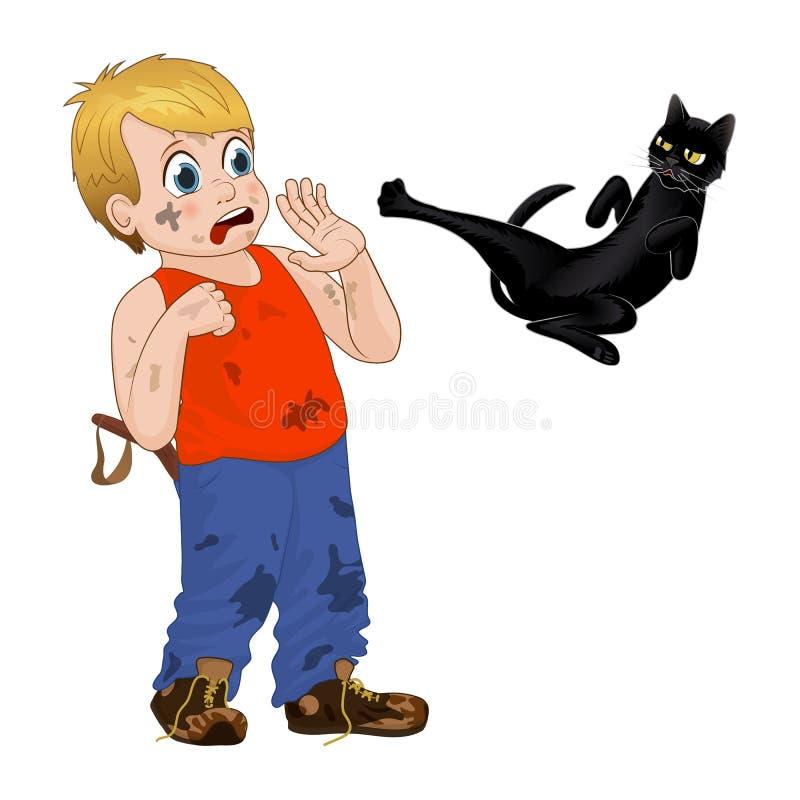 Kinderspiel draußen, netter kleiner Junge des Strolchs erschrak die schwarze Katze Lustige Zeichentrickfilm-Figur Vektor stock abbildung