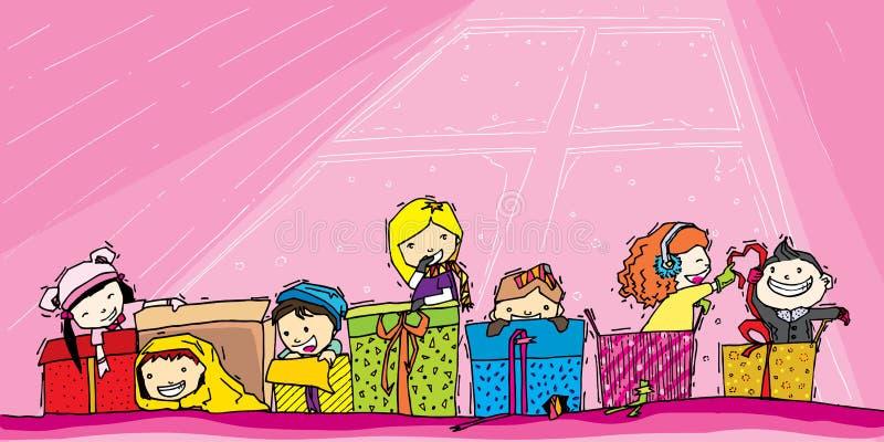 Kinderspiel im Geschenk stock abbildung