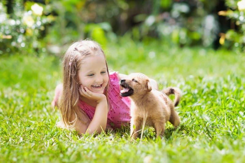 Kinderspiel mit Welpen Kinder und Hund im Garten stockbild