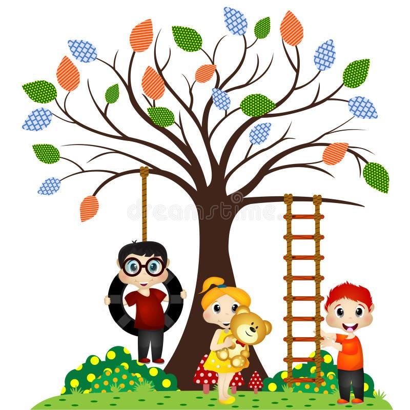 Kinderspiel unter dem Baum lizenzfreie abbildung