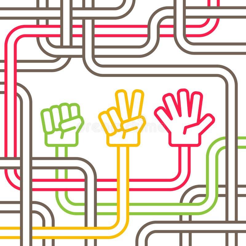 Kinderspiel verwirrte Schere, Stein, Papier lizenzfreie abbildung