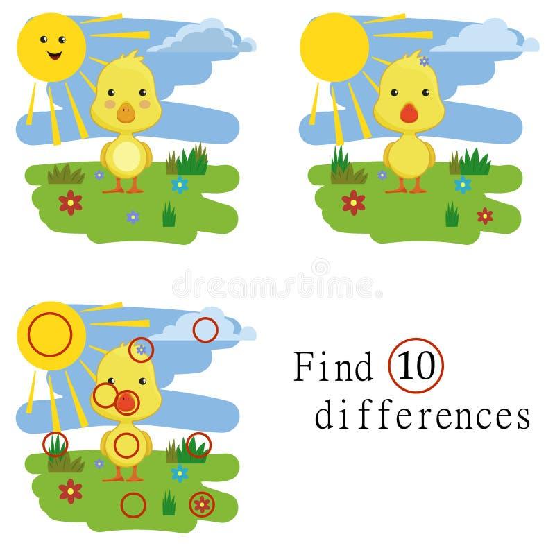 Kinderspiele: Entdeckungsunterschiede Kleine nette Ente lizenzfreie stockfotografie