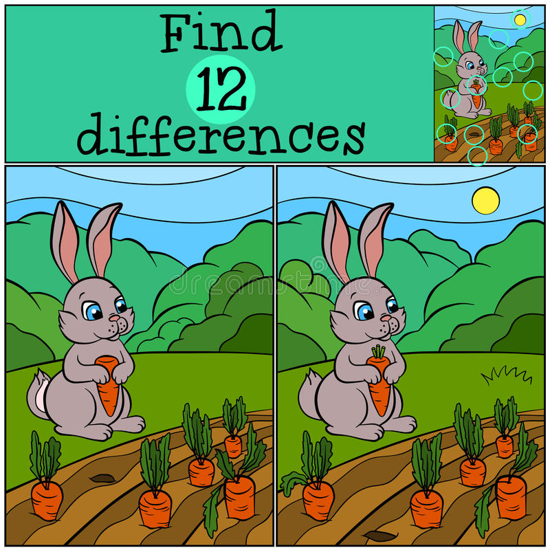 Kinderspiele: Entdeckungsunterschiede Wenige nette Hasen stock abbildung