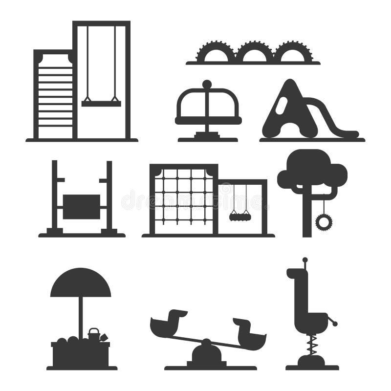Kinderspielplatzkindergartenunterhaltungsschattenbildkindheitsspielparktätigkeitsplatzerholungsschwingen-Ausrüstungsspielzeug vektor abbildung