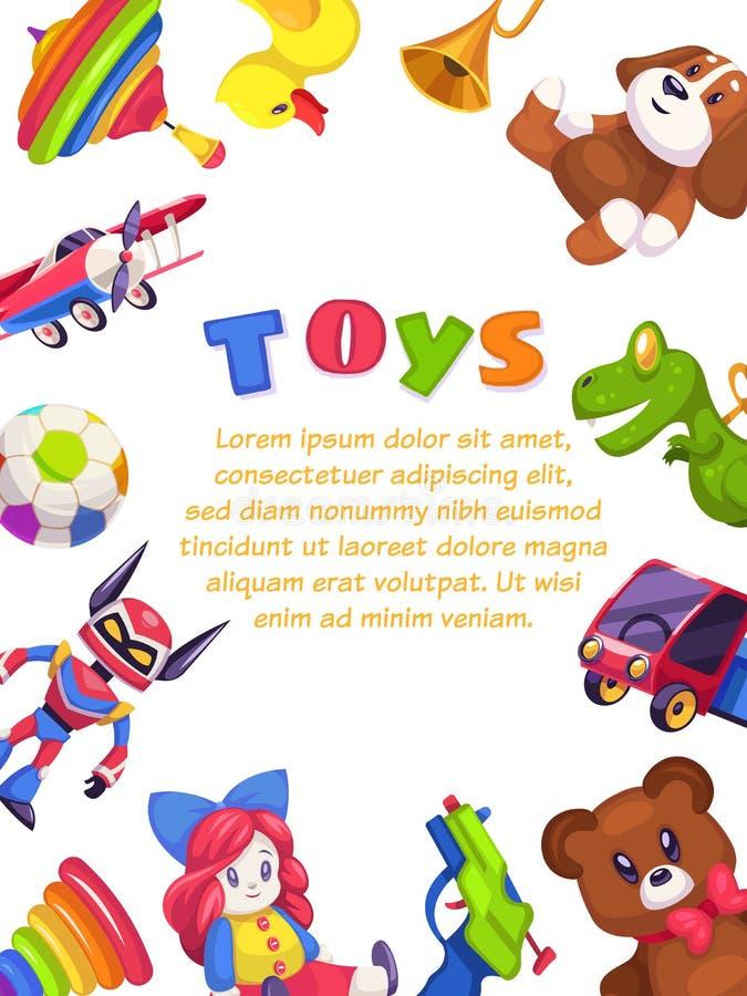 Kinderspielwarenplakat Kinderspielzeugbroschürenabdeckungsentwurfspyramidenklaviergeklapperauto-Kaninchenente, flache Vektorschab lizenzfreie abbildung