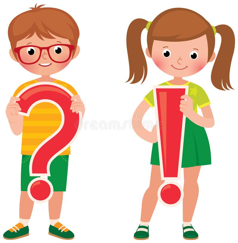 Kinderstudenten halten eine Frage und ein Ausrufezeichen stock abbildung