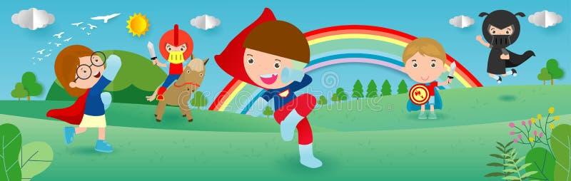 Kindersuperhelden, die Comicskostüme, Kind mit Superheld Kostümsatz, netter kleiner Kinder in den Superheldkostümcharakteren trag stock abbildung