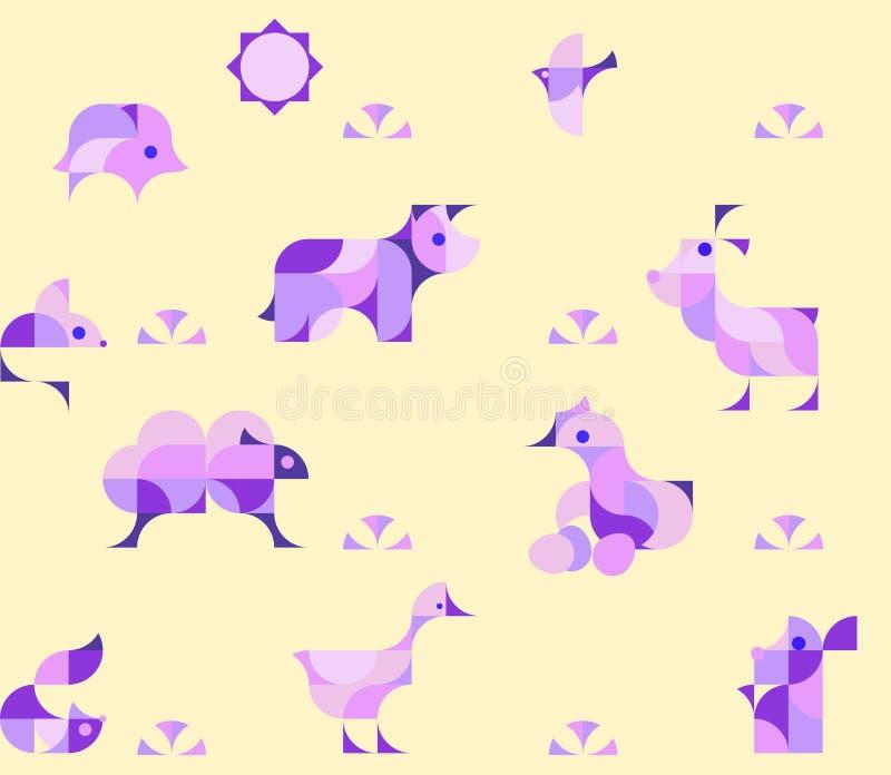 Kindertagesstätten-kindischer nahtloser Muster-Hintergrund mit Vieh stock abbildung