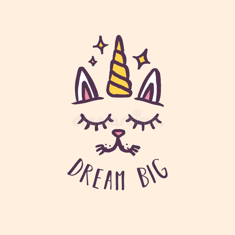 Kindertagesstättendruck des Einhorns der großen Katze gezeichneter Traumhand Auch im corel abgehobenen Betrag lizenzfreie abbildung