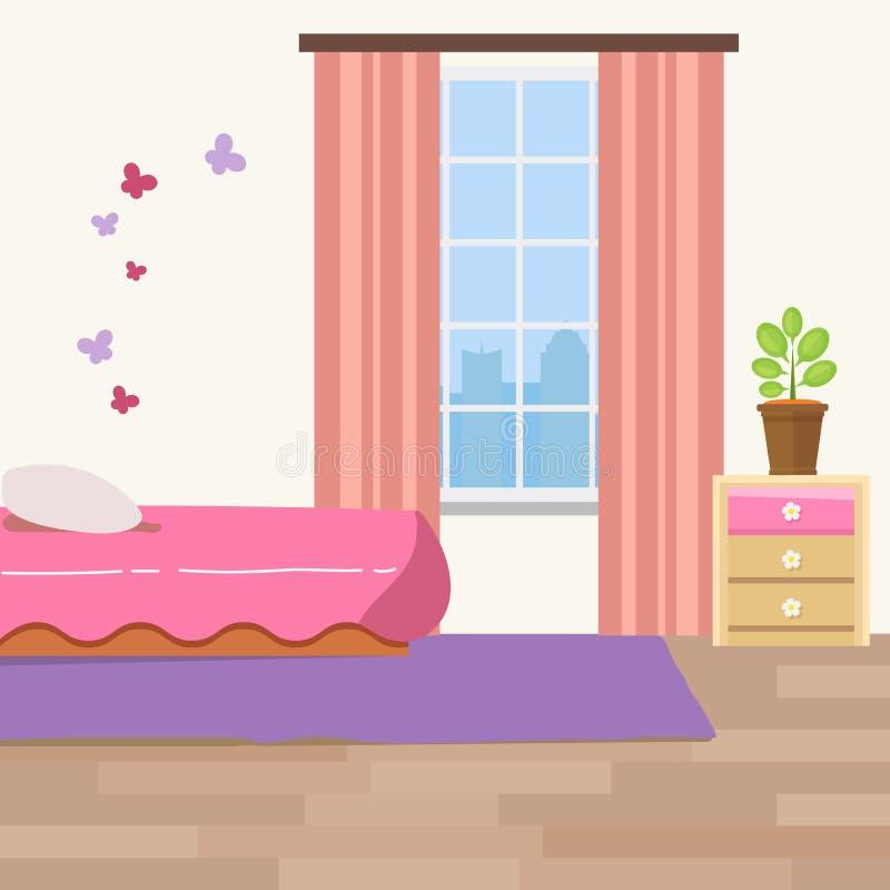 Kindertagesstättenraum mit weißen Möbeln Babyrosa-Streifeninnenraum Mädchenraumdesign mit Bett, Krippenmobile, Kommode stock abbildung
