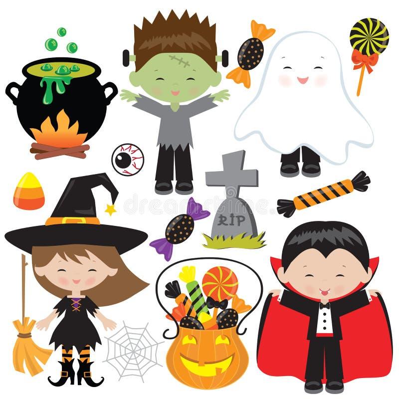 Kindervektor-Karikaturillustration Halloweens lächelnde lizenzfreie stockfotos
