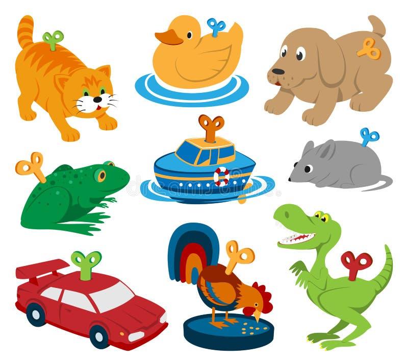 Kindervektor spielt Uhrwerkschlüsselmechanismusmechaniker-Karikaturtiere im Toyshop für Kinderzeitwerkauto und -boot herein stock abbildung
