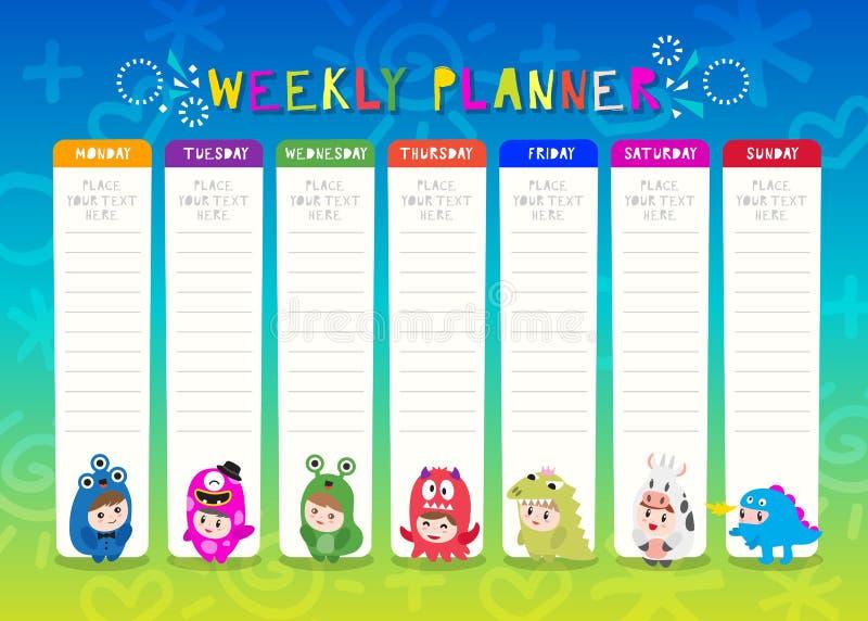 Kinderwöchentlicher Planer mit netten Monsterzeichentrickfilm-figuren Ein Zeitplan f?r Volksschule Kinderzeitplan-Entwurfsschablo lizenzfreie abbildung