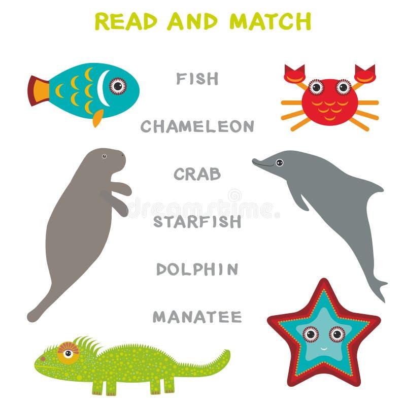 Kinderwörter, die das Spielarbeitsblatt gelesen und Match lernen Lustiges Tiere Manatis-Delphin-Leguan-Krabben-Fische Starfish-Le vektor abbildung