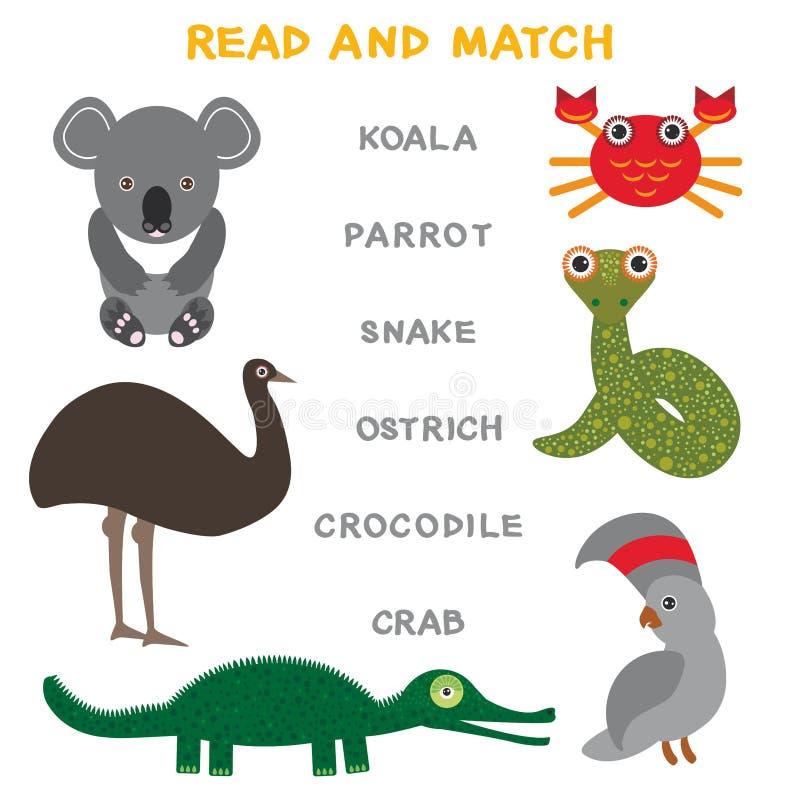 Kinderwörter, die das Spielarbeitsblatt gelesen und Match lernen Lustiges Tierkoalastraußpapageienkrabbenkrokodil-Schlange Lernsp lizenzfreie abbildung