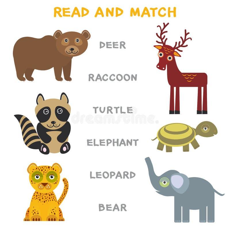 Kinderwörter, die das Spielarbeitsblatt gelesen und Match lernen Lustiges Tierrotwildwaschbärschildkrötenelefantleopard-Bär Lerns stock abbildung