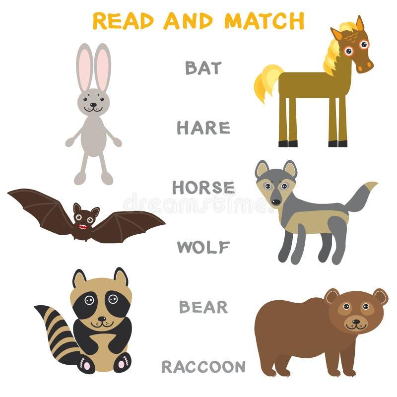 Kinderwörter, die das Spielarbeitsblatt gelesen und Match lernen Lustiges Tierschlägerhasepferdewolfbärn-Waschbär Lernspiel für V stock abbildung