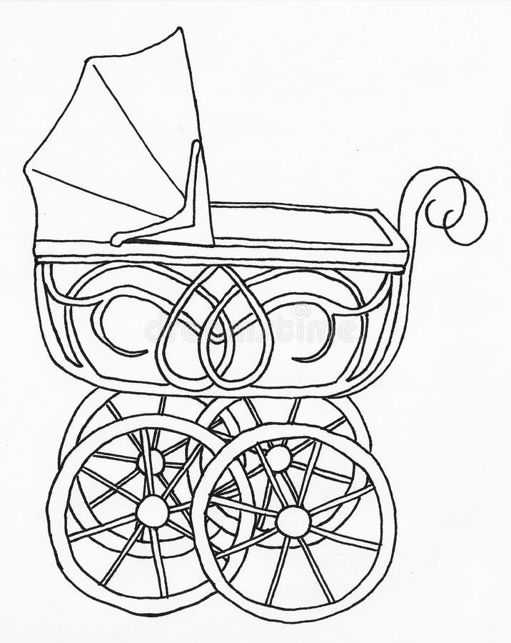 Kinderwagen, Babywandelwagen Lineart stock foto's