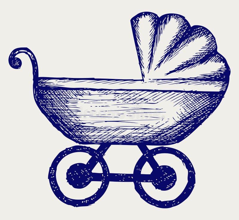 Kinderwagen. De stijl van de krabbel stock illustratie
