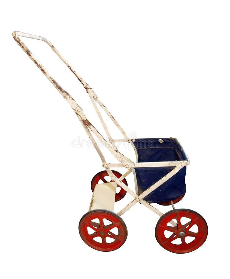 Kinderwagen der antiken Puppe stockfoto