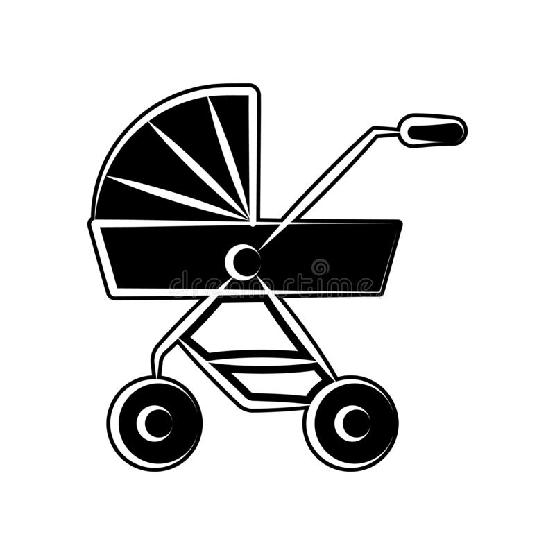 Kinderwagen der Babyikone Element der Mutterschaft für bewegliches Konzept und Netz Appsikone Glyph, flache Ikone für Websiteentw lizenzfreie abbildung