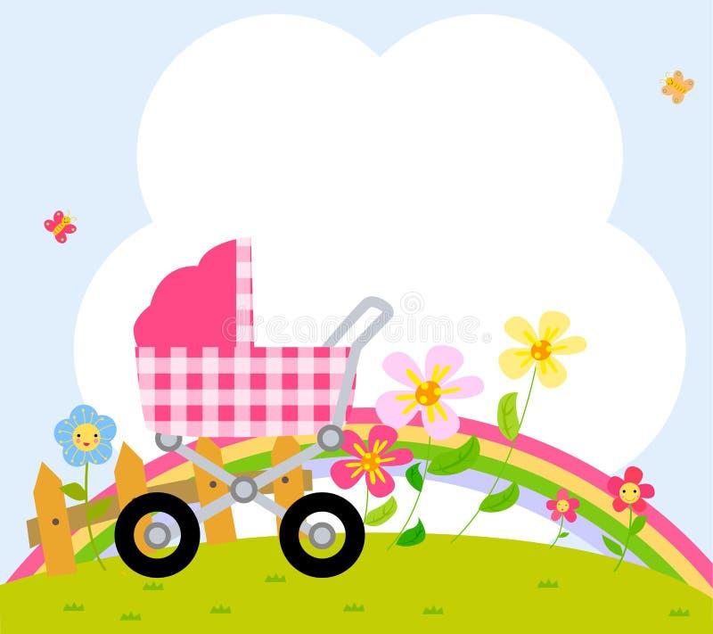 Kinderwagen en kader vector illustratie