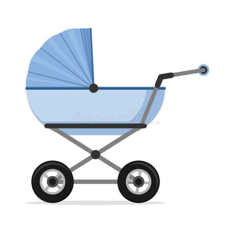 Kinderwagen lokalisiert auf weißem Hintergrund Kinder Pram, Kinderwagen stock abbildung