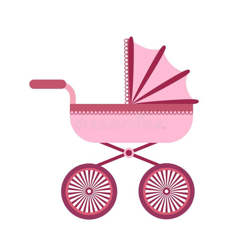 Kinderwagen lokalisiert auf weißem Hintergrund Kinder Pram, Kinderwagenvektorillustration lizenzfreie abbildung