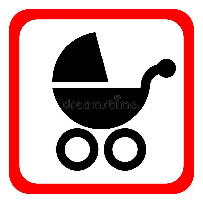 Kinderwagenikone auf einem weißen Hintergrund Auch im corel abgehobenen Betrag stock abbildung