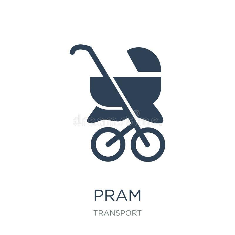 kinderwagenpictogram in in ontwerpstijl kinderwagenpictogram op witte achtergrond wordt geïsoleerd die eenvoudige en moderne vlak vector illustratie